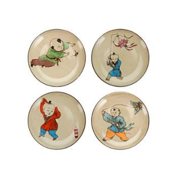 陶润会 童趣复古手绘陶瓷点心盘创意装饰盘新中式餐具礼盒