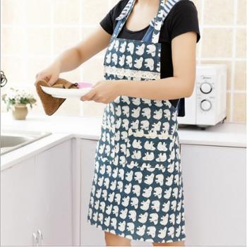 日式棉麻无袖围裙韩版时尚围腰厨房做饭布艺成人家居可爱罩衣