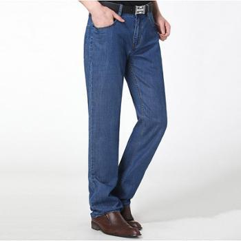 2017新款牛仔裤男裤春夏薄新款宽松直筒弹力休闲长裤子