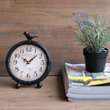 美国派 珠宝钟表配饰 法式复古美式座钟做旧金属铁艺黑色圆钟表圆座钟台钟 包邮