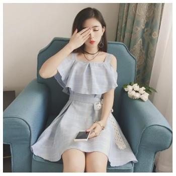 2017夏季新款韩版女装收腰荷叶边一字领露肩吊带连衣裙格子裙子夏