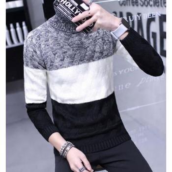 冬季男士上衣服加厚长袖T恤潮男装高领毛衣小衫打底衫韩版针织衫