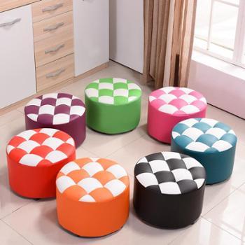 小板凳子圆矮茶几凳沙发成人客厅家用时尚创意实木皮敦凳子换鞋凳