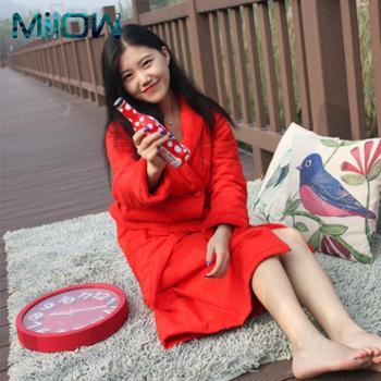 猫人专柜女士夹棉睡衣本命年家居服外披系带结婚加厚睡袍大红