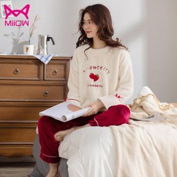 猫人睡衣女冬加厚可外穿家居服套装珊瑚绒保暖大码胖mm起居服