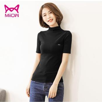 5分袖上衣猫人黑色打底衫女中袖半高领修身紧身t恤
