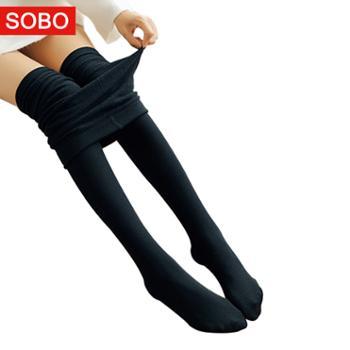 SOBO薄款拉绒打底裤100g外穿百搭黑色连脚踩脚一体裤B002-a