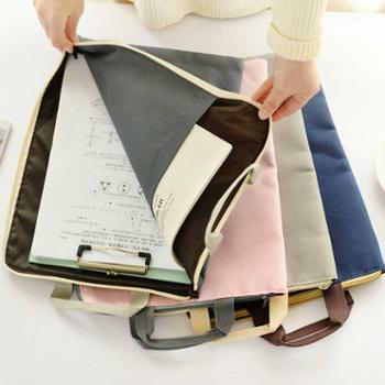 简约防水防尘帆布文件袋 学生文具办公拉链档案袋 资料手提收纳袋1个