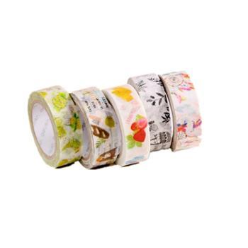 得力和纸胶带纸质胶带可爱印花学生用一卷