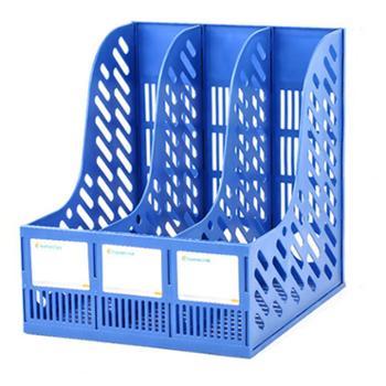 加厚文件架筐子多层3栏普通款 蓝色