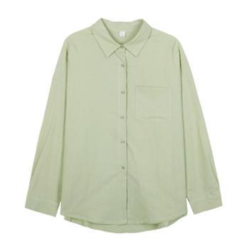 HZ简约单排扣翻领衬衫女韩版宽松长袖衬衣C21705