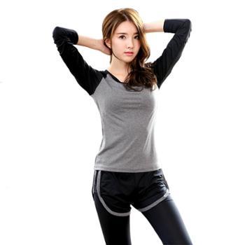 REALLION秋冬运动两件套装速干跑步瑜伽服长袖假两件长裤