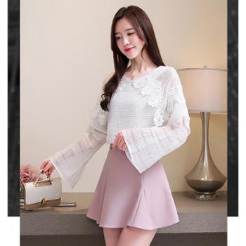 百旅Bailv春季新款大码女装宽松喇叭袖雪纺衫蕾丝花边拼接上衣