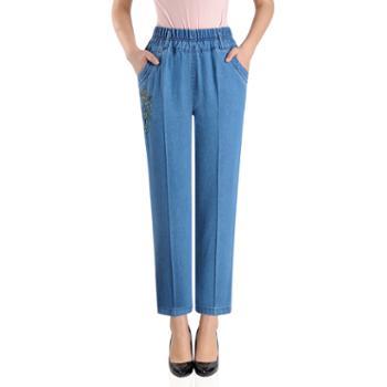 百旅Bailv春季新款中老年松紧腰百搭薄款女式大码弹力舒适直筒牛仔裤