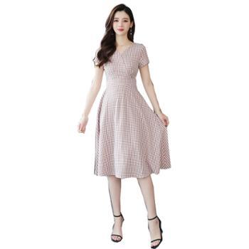百旅Bailv夏季V领格子复古女式连衣裙子