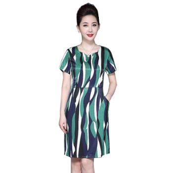 百旅Bailv夏季优雅显瘦短袖微弹女式连衣裙