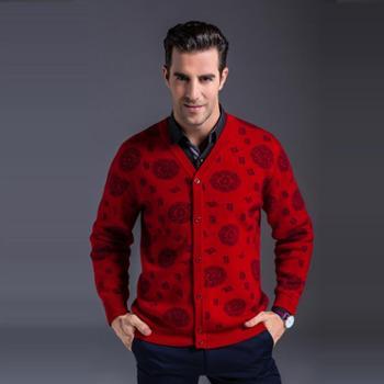 秋冬季中老年男V领复古开衫爸爸装大码喜庆保暖羊绒衫专柜正品