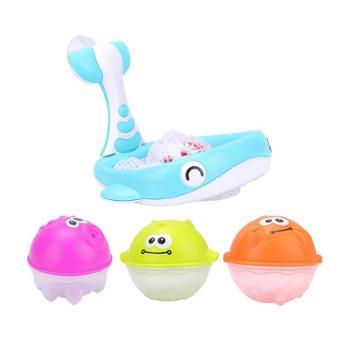 娃娃博士 捞鱼投篮两用戏水儿童玩具(含3款可喷水海洋动物球) 浴室戏水w426-YB1776-3