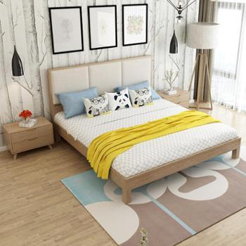 梦尚佳实木床北欧日式1.8米双人实木床现代简约软体靠背白蜡木床