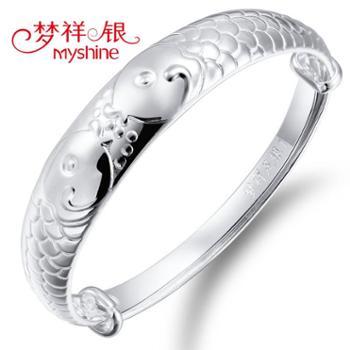 梦祥银银饰手镯相濡以沫的爱情时尚鱼悦银手镯送妈妈女友