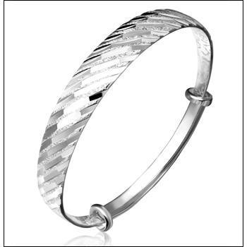 梦祥银手镯女流星雨斜纹手镯推拉银镯子折线时尚手环