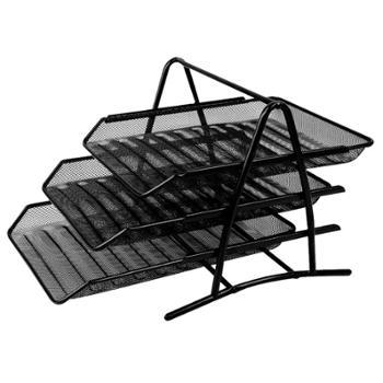 得力9181文件篮铁丝网文件栏三层文件框(黑)(只)