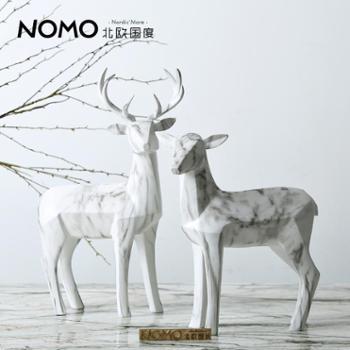北欧国度北欧摆件利勒摩大理石纹树脂麋鹿摆件创意动物装饰品