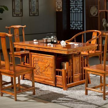 一米色彩中式南榆木茶桌椅组合