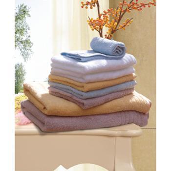富安娜 素色纯棉缎档方浴巾三件套礼盒