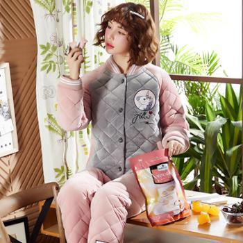 冬季夹棉女士睡衣三层保暖加厚加绒少女保暖家居服加肥加大码 馥-02