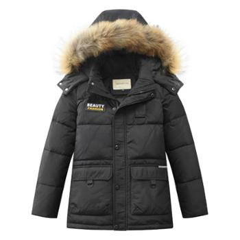 儿童羽绒服男童中长款韩版毛领加厚冬装童装中大童冬季巴1813