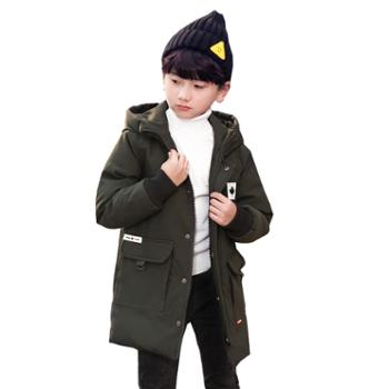 新款儿童男童羽绒服中长款韩版宽松童装小中大童冬装巴1816