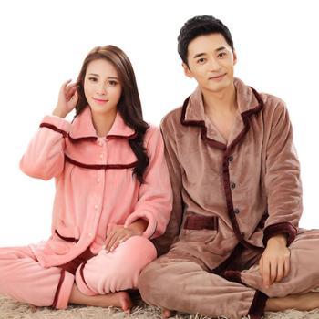 情侣睡衣套装秋冬女士法兰绒加厚大码家居服男加绒睡衣G-1635和1678
