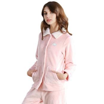 冬季 加厚保暖法兰绒女士优雅小翻领开衫绣花长袖睡衣家居服