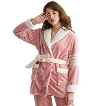 冬情侣加厚翻领系带加长保暖法兰绒大码睡衣 可外穿女家居服