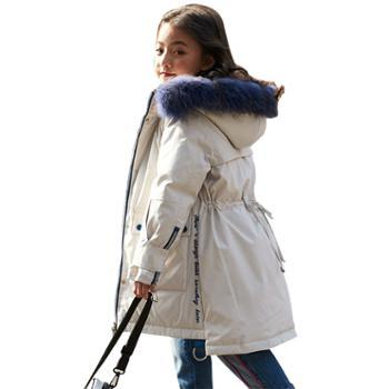 儿童羽绒服韩版加厚女童中大童白鸭绒外套一9151