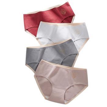 (单条价)纯棉无痕女士中腰全棉裆一片式三角内裤
