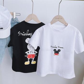 儿童T恤米奇男童短袖纯棉宝宝夏装鼠女卡通上衣