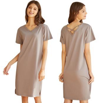 夏季女士V领可爱针织莫代尔棉短袖睡裙 可外穿凉爽大码睡衣