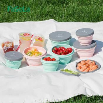 FaSoLa便携旅行硅胶折叠碗带盖泡面碗伸缩耐热户外野餐具旅游碗