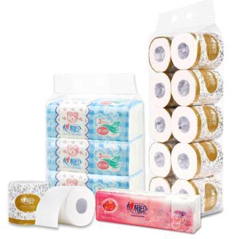 心相印婴儿抽纸3包+手帕纸巾10包+卷筒纸10卷组合装