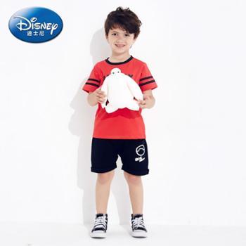 迪士尼童装17夏款新品男童薄款套装儿童宝宝短袖T恤五分裤两件套
