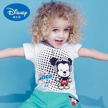 迪士尼cuties卡通动漫短袖T恤 男童宝宝夏装2017新款百搭短袖女童