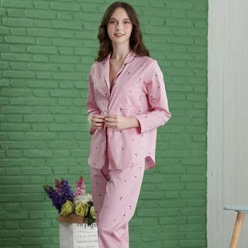 曼丝顿梭织全棉睡衣女春秋长袖薄款纯棉韩版宽松品牌家居服套装