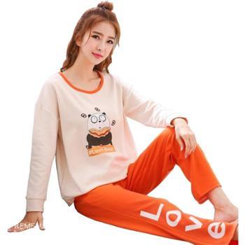 大白纯棉长袖韩版清新家居服两件套装