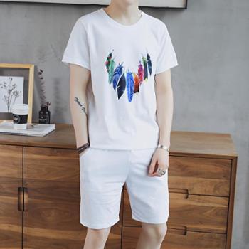 韩版短袖T恤男士夏季套装休闲短裤运动学生衣服两件套DS79短袖套装