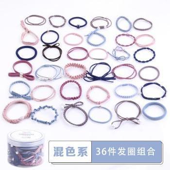 韩版发圈36件头绳套装创意款珍珠发饰蝴蝶结发绳
