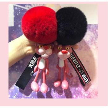 韩国可爱粉红豹钥匙扣顽皮小粉豹挂件少女心毛球钥匙链包包挂饰选购时请备注颜色