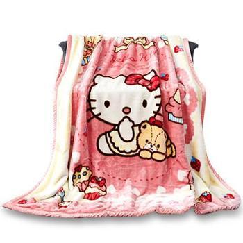 hellokitty法兰绒儿童卡通毯保暖法莱绒毛毯珊瑚绒加厚毛毯床单