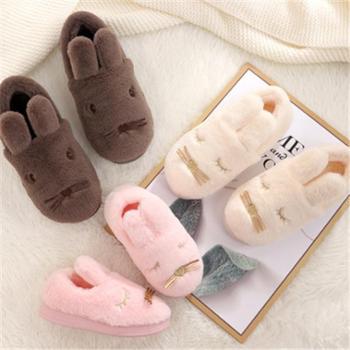 棉拖鞋儿童居家包跟秋冬季女亲子情侣室内防滑月子可爱卡通男